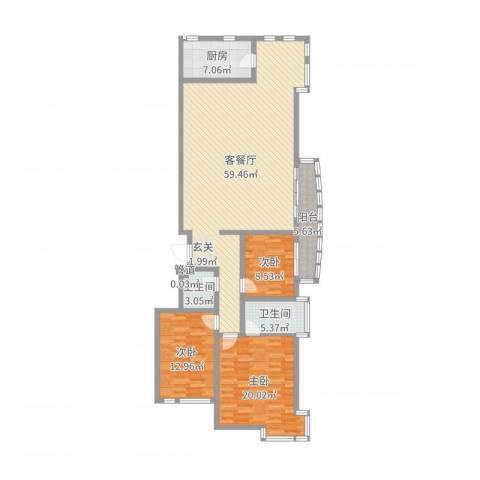 中道山水御园3室2厅2卫1厨122.10㎡户型图