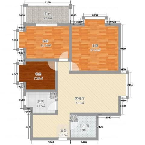 双威理想城二期3室2厅1卫1厨109.00㎡户型图