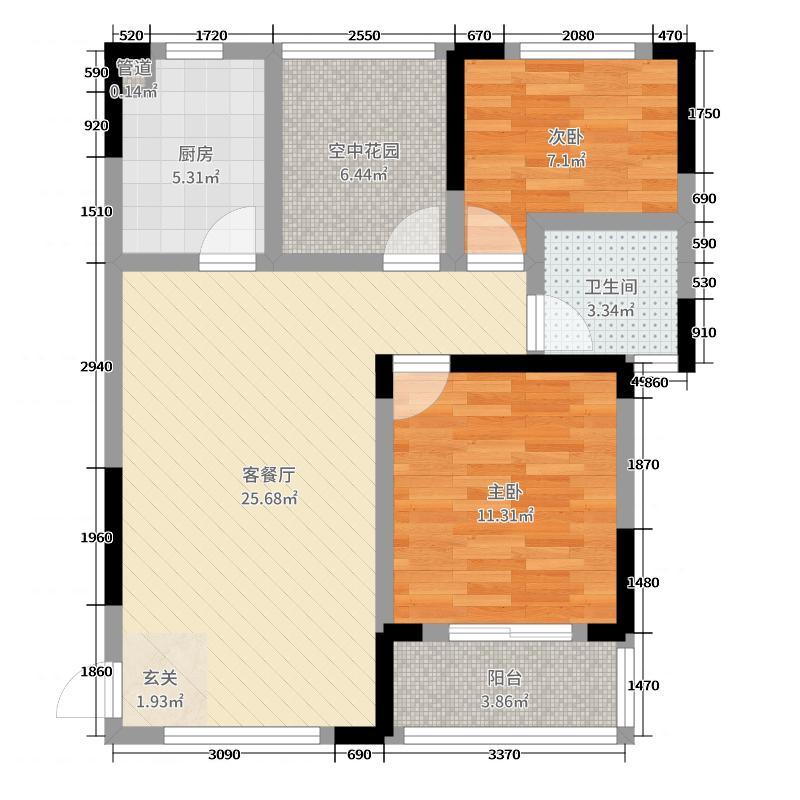 湘楚华庭95.15㎡1号栋C3户型3室3厅1卫1厨