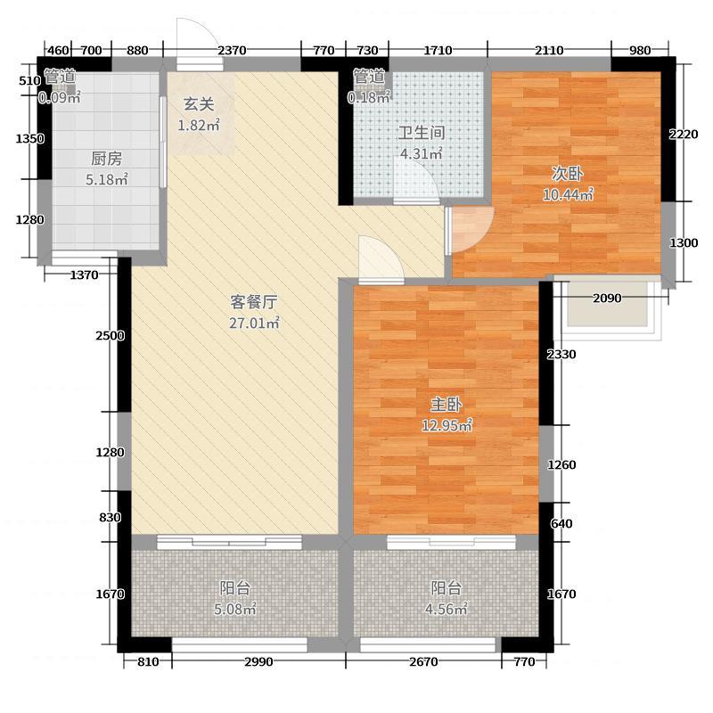 兰州大名城87.52㎡A区10号楼1、2单元F2户型2室2厅1卫1厨