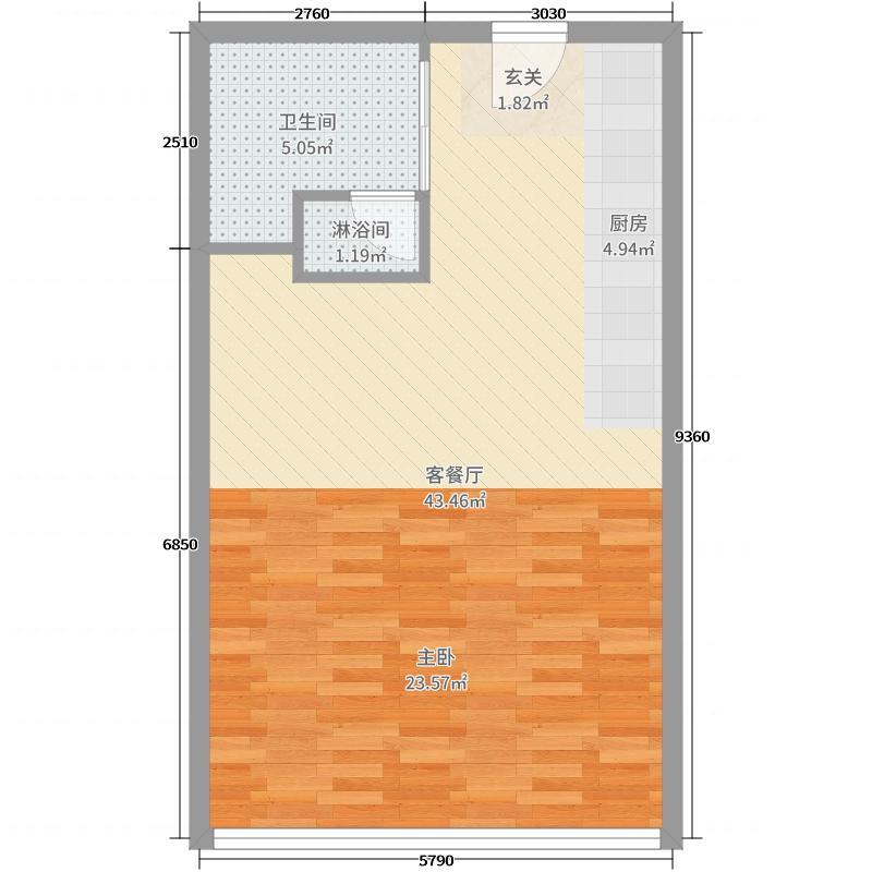 蜀山凡高62.13㎡公寓户型1室1厅1卫1厨