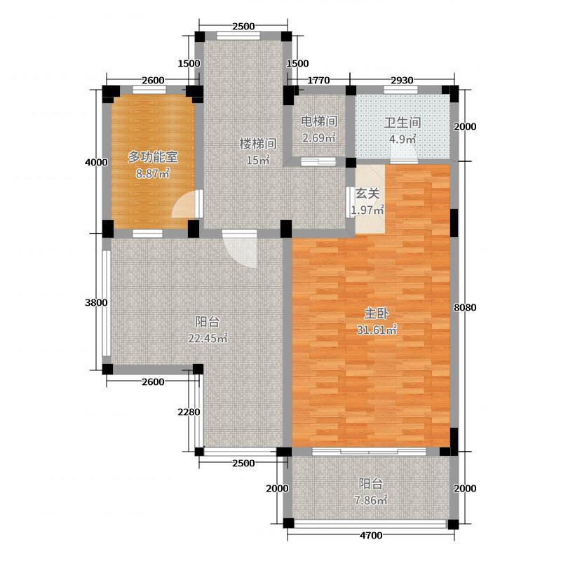尚岭・清华苑78.00㎡D1三层平面图户型4室4厅4卫1厨