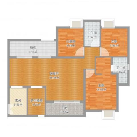 国奥村二期3室2厅2卫1厨127.00㎡户型图
