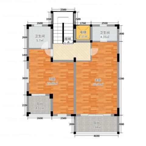 尚岭・清华苑2室0厅2卫0厨106.00㎡户型图