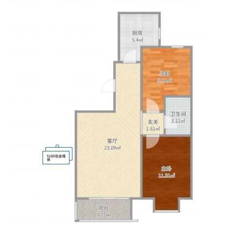 渤海豪庭2室1厅1卫1厨72.00㎡户型图