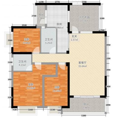 华韵城市海岸二期3室2厅2卫1厨141.00㎡户型图