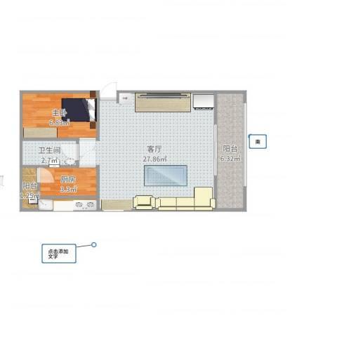 三合北里1室1厅1卫1厨62.00㎡户型图