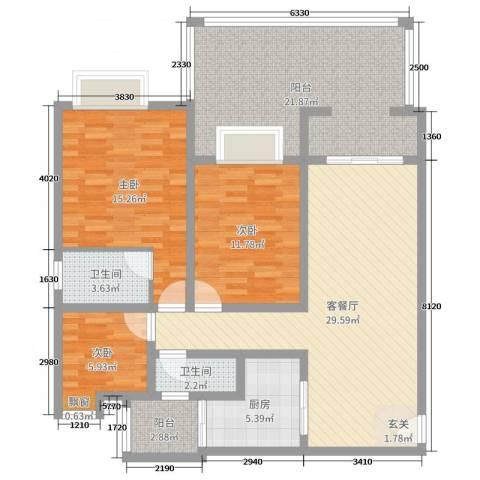 金科公园王府3室2厅2卫1厨99.00㎡户型图