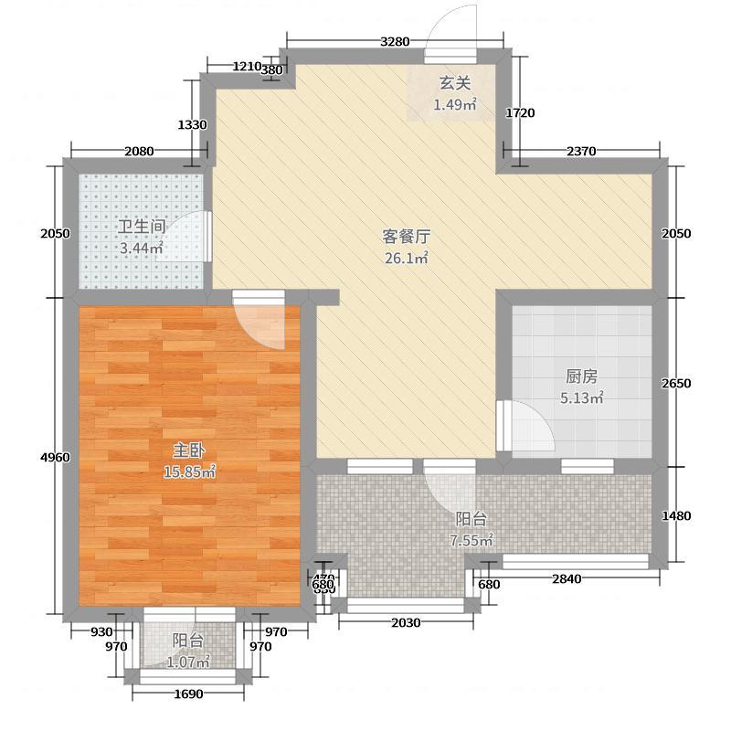 皇家御湾72.00㎡S21户型1室1厅1卫1厨