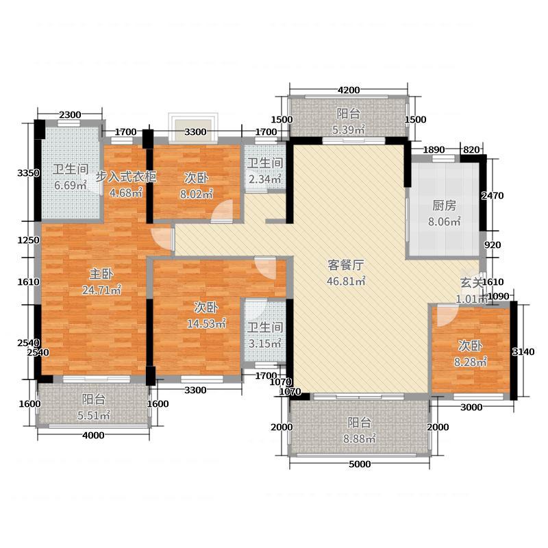 碧桂园・十里江湾186.00㎡Y283-A户型4室4厅3卫1厨