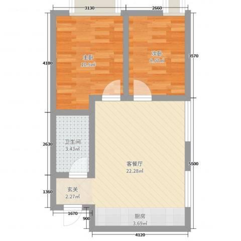 万行中心2室2厅1卫0厨44.27㎡户型图