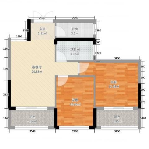 湘水郡2室2厅1卫1厨88.00㎡户型图