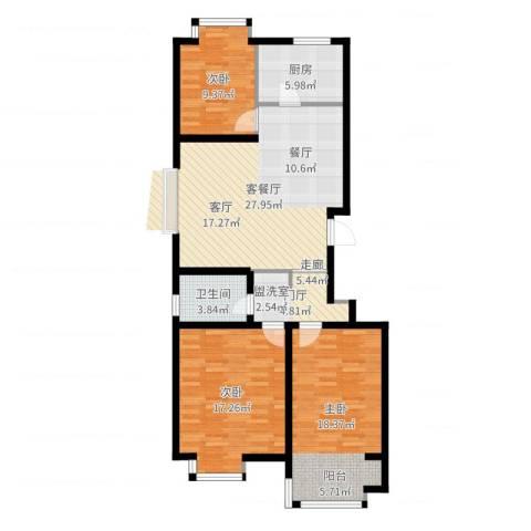 星光东昌丽都3室2厅1卫1厨109.00㎡户型图