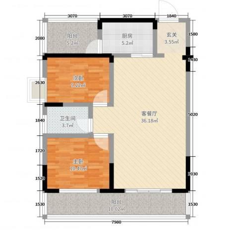 瑞凯景城苑2室2厅1卫1厨100.00㎡户型图