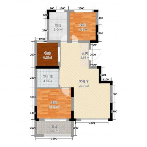 塞纳蓝湾3室2厅1卫1厨85.00㎡户型图