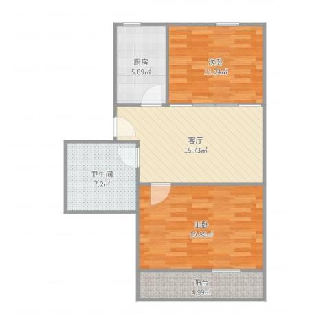 贝港北区22室1厅1卫1厨76.00㎡户型图