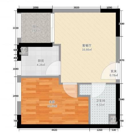 嘉德・水韵金阁1室2厅1卫1厨51.00㎡户型图