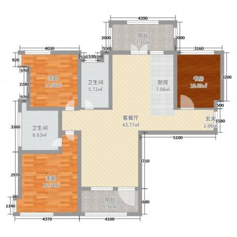 天马相城四期3室2厅2卫0厨134.00㎡户型图