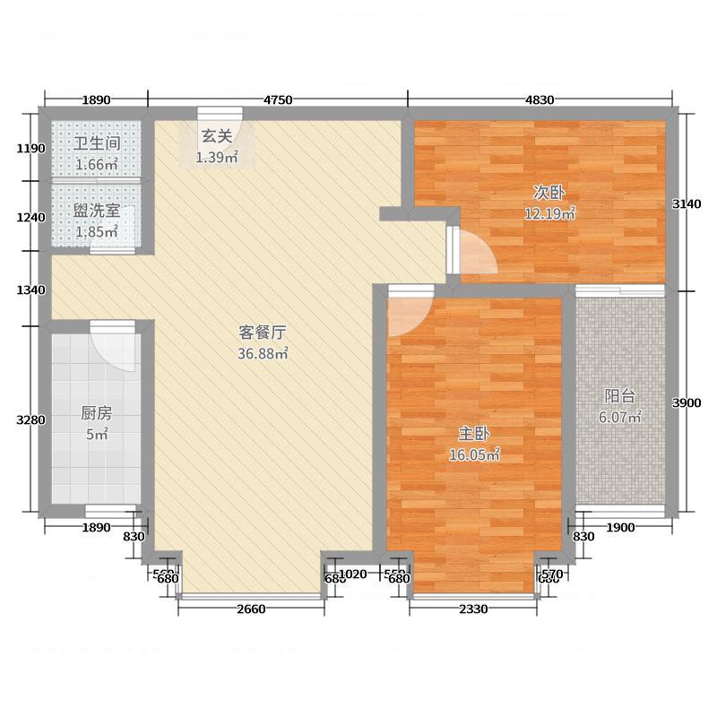 大唐金茂古运码头二期99.70㎡10#F户型2室2厅1卫1厨