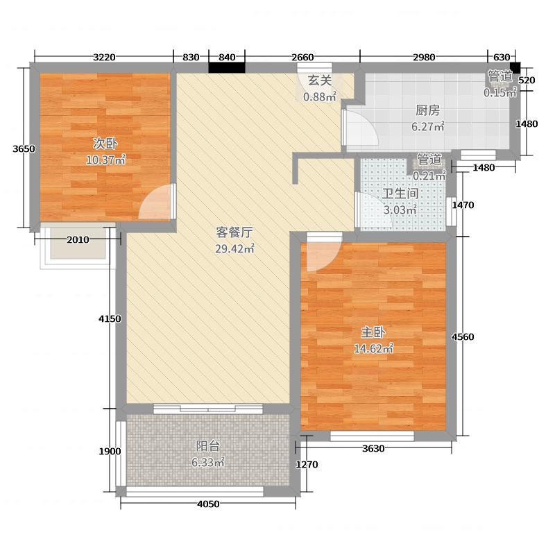 仁恒绿洲新岛88.00㎡三期1#标准层A户型2室2厅1卫1厨