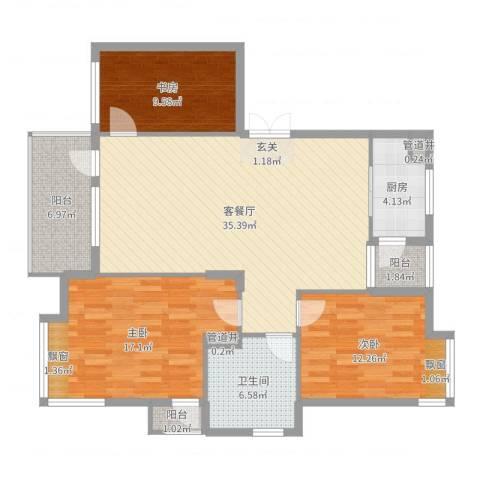 华林都市家园3室2厅1卫1厨119.00㎡户型图