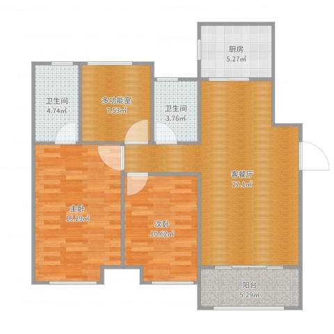 深基天海城市花园2室2厅2卫1厨101.00㎡户型图