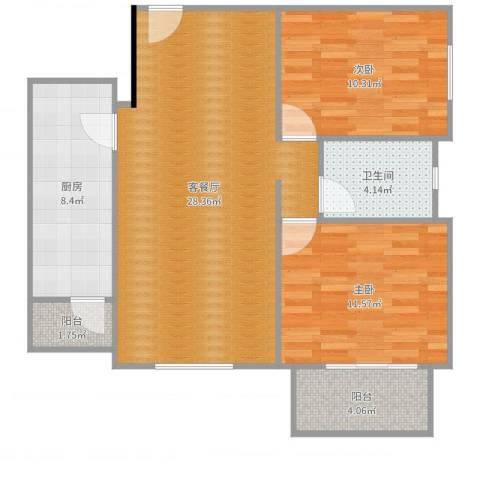 加州水郡西区2室2厅1卫1厨88.00㎡户型图