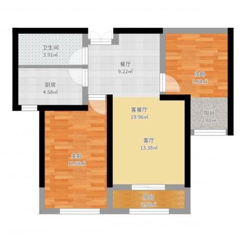 地恒托斯卡纳2室2厅1卫1厨66.00㎡户型图