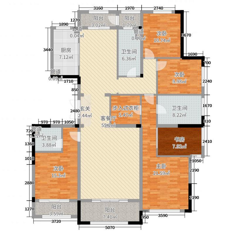 祥隆绿城诚园210.00㎡法多210标准层东户型4室4厅2卫1厨