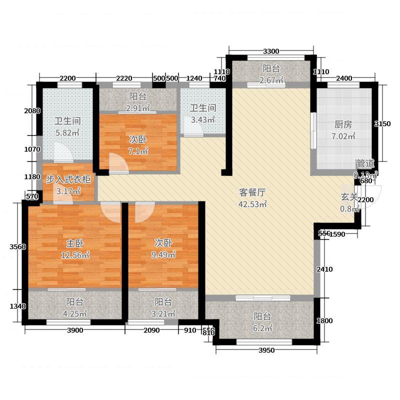 金辉・世界城146.44㎡C2#户型3室3厅2卫1厨