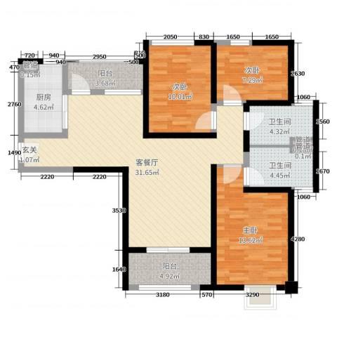 海伦春天3室2厅2卫1厨124.00㎡户型图