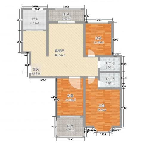 上城东郡3室2厅2卫1厨138.00㎡户型图