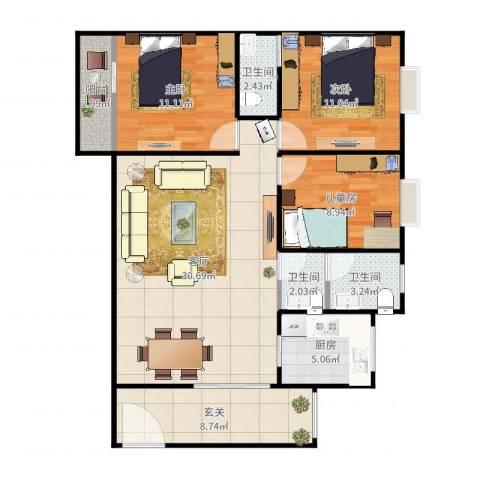 恒达名门尚居3室1厅3卫1厨108.00㎡户型图