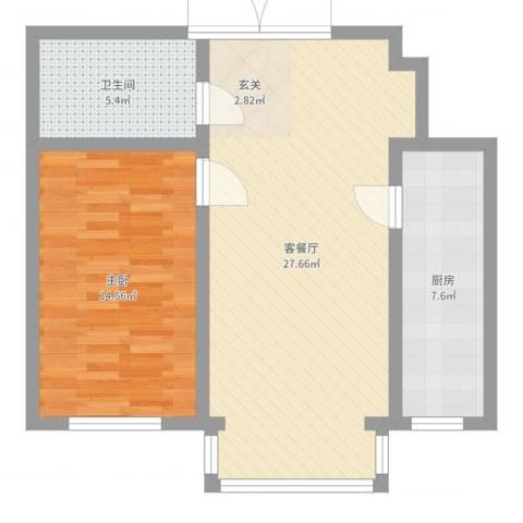 中华名苑1室2厅1卫1厨69.00㎡户型图