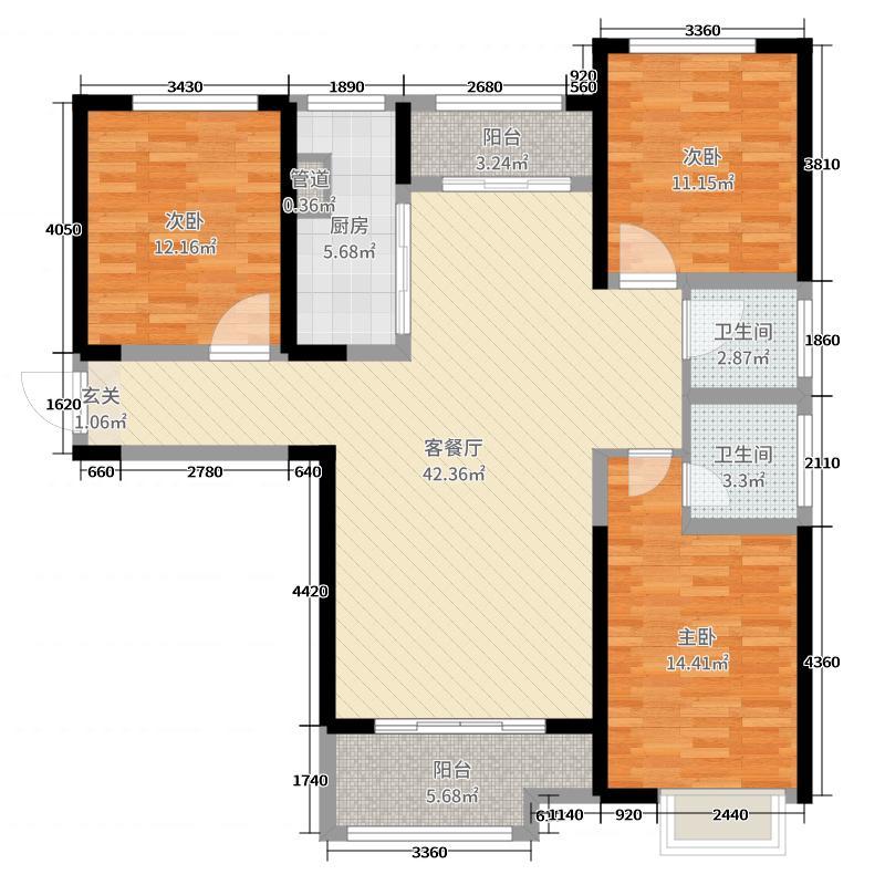 豫飞金色城邦126.49㎡11#、13#楼3C户型3室3厅2卫1厨