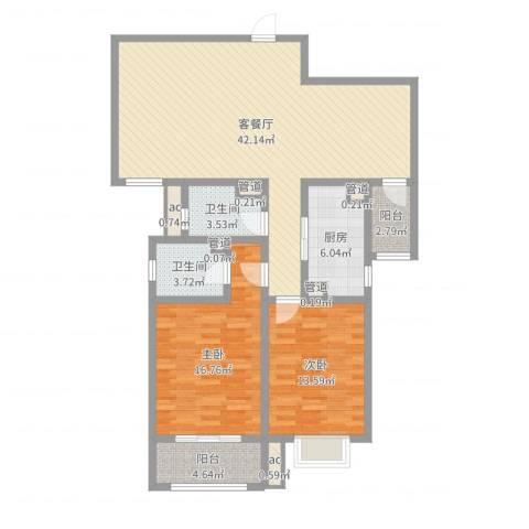 朝阳国际广场2室2厅2卫1厨119.00㎡户型图