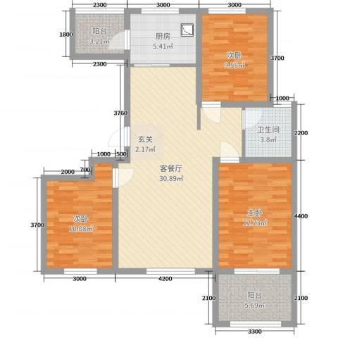 泰安盛世3室2厅1卫1厨108.00㎡户型图