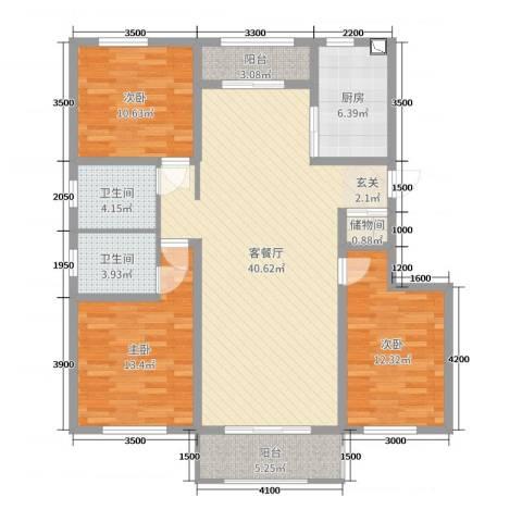 泰安盛世3室2厅2卫1厨133.00㎡户型图