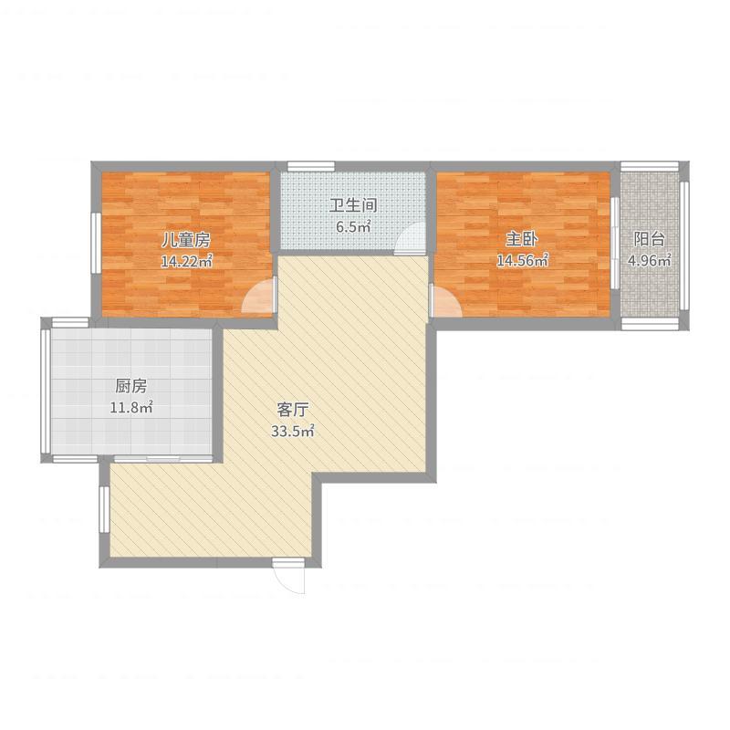 中江国际F户型两室两厅一卫(法式)