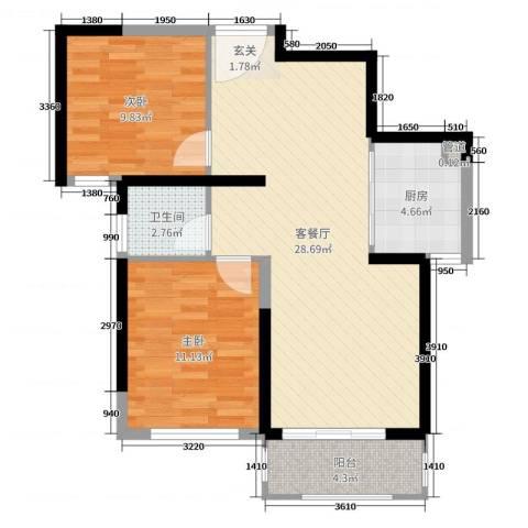 启迪方洲2室2厅1卫1厨77.00㎡户型图