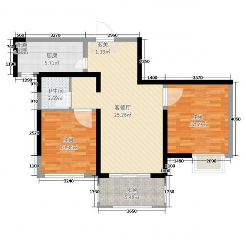 启迪方洲2室2厅1卫1厨78.00㎡户型图