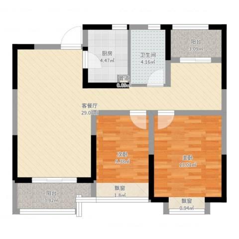 华润绿地・凯旋门2室2厅1卫1厨84.00㎡户型图