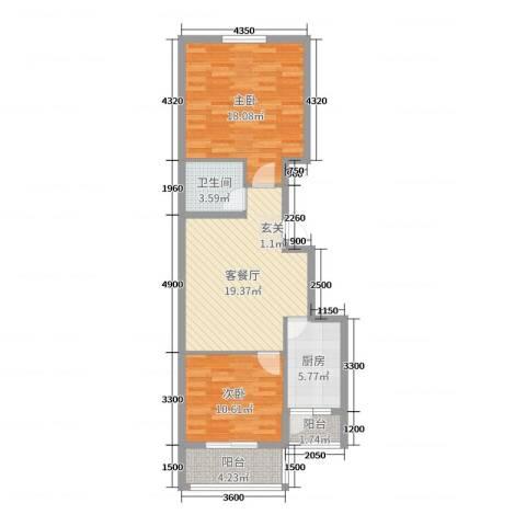 融基・御水山庄2室2厅1卫1厨87.00㎡户型图