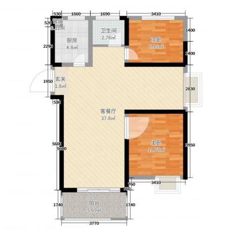 启迪方洲2室2厅1卫1厨89.00㎡户型图