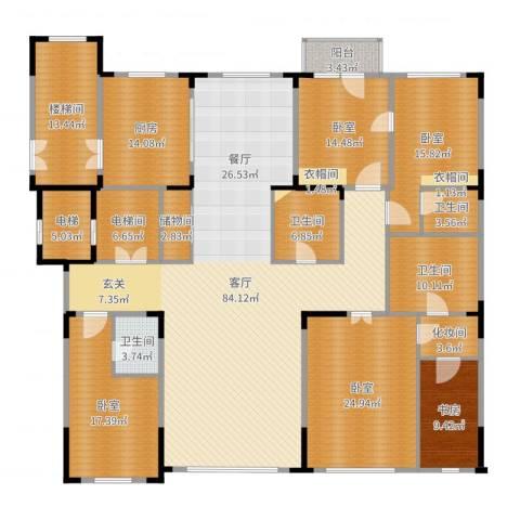 中海紫金苑1室1厅4卫1厨299.00㎡户型图