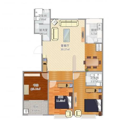 裕昌大学城2室2厅2卫1厨121.00㎡户型图