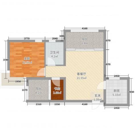 天颐郦城三期时光里2室2厅1卫1厨71.00㎡户型图