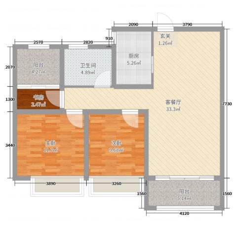 天颐郦城三期时光里3室2厅1卫1厨96.00㎡户型图
