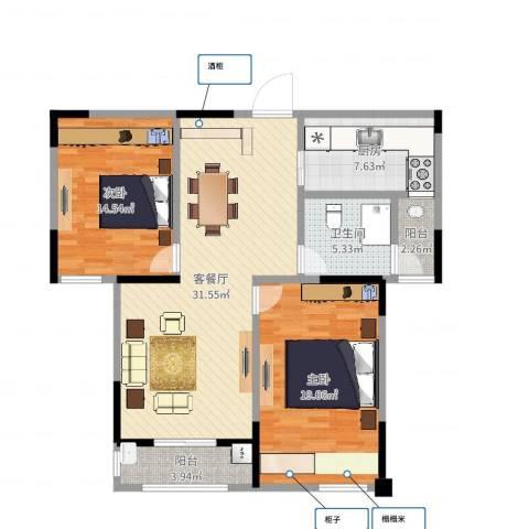 嘉乐城2室2厅1卫1厨105.00㎡户型图