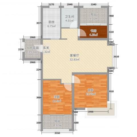天颐郦城三期时光里3室2厅1卫1厨109.00㎡户型图